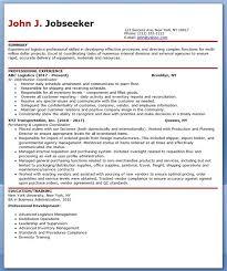 logistics professional resume format logistics resume
