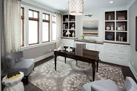 decorating ideas for home office. Breathtaking Home Office Decorating Ideas With Pattern Rug And Dark Wood Table White Cabinets Plus Armchairs Also Shade Pendant Lighting For D