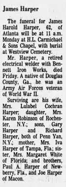 Obituary for James Harold Harper (Aged 62) - Newspapers.com