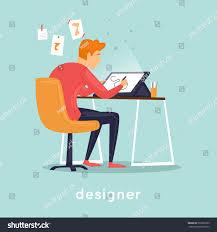 Vector Image Designer Designer Illustrator Working Office Flat Vector Stock Vector