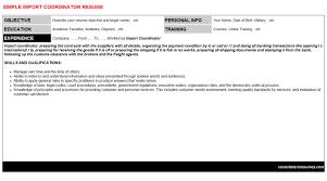 Import Coordinator Cover Letter Resume 11540