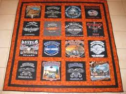Memory T-Shirt Quilts & 16 Harley Davidson Shirts, sashing, extra wide border, marbled burnt orange  and solid black fabrics, order # 16B Adamdwight.com