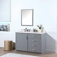 gray bathroom vanity. MAYKKE Sterling 48 Inch Bathroom Vanity Set In Birch Wood Light Grey Finish, Gray I