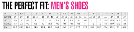 Shoes Size Charts Shopping Services About Us