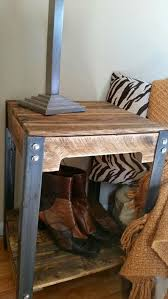 steel and reclaimed pallet wood end tables for bed or couch perfect for a modern and industrial bedroom or mancave is the marketplace for custom made bedroomeasy eye upcycled pallet furniture ideas