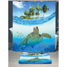innovative turtle shower curtains decorating with whole sea turtle waterproof shower curtain rug set w79 inch