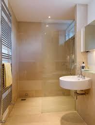 Beige Bathroom Tile Ideas Brown Concrete Wall And Floor Light Blue ...