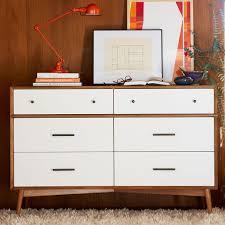 mid century 6 drawer dresser white acorn