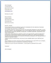 Cover Letter Examples For Veterinary Assistant Vet Tech Cover Letter