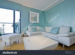 Teal Blue Living Room White Leather Sofa Light Blue Living Stock Photo 36862117