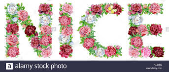 Word Nice Of Watercolor Flowers Isolated Hand Drawn On A