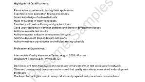Summary Sample For Resume Magnificent Sample Resume For An Entry Level Qa Software Tester Automation