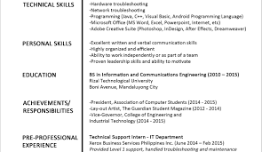 Resume Sample Resume Format For Fresh Graduates One Page Format