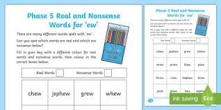Phonics phase 5 teaching resource this set of 121 worksheets covers phases 5 of the letters and sound scheme. Phase 5 Ew Colour By Phoneme Real And Nonsense Words