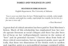 "heather duerre humann s blog check out my recent essay on toni morrison s fiction ""family and violence in love now appears in the latest issue of women s studies an interdisciplinary"