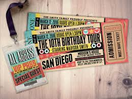 Concert Ticket Maker Pop Star Rock Star Concert Ticket Birthday Party Invitation Music 21
