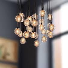 generic modern clear cast glass ball meteor shower chandelier 220 240v transpa color