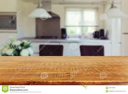 Empty Kitchen Wall Interior Background With Empty Kitchen Table Stock Photo Image