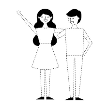 Couple Of Young People Relationship Characters Vector Illustration