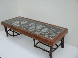 bear coffee table with glass top industrial rustic western tables style made from solid wood rectangular