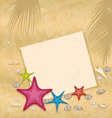 Sand Card Illustration Sand Background With Paper Card Starfishes Pebble