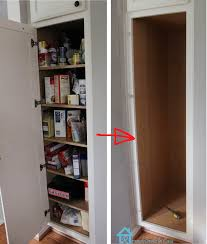 Pull Out Kitchen Shelves Diy Remodelando La Casa Kitchen Organization Pull Out Shelves In Pantry Cabinet Is Emptied For Slide Installation Diy Tall Skinny Shelf Home Decor Contemporary