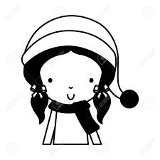 黒いアイコン クリスマスかわいい上半身は少し女の子ベクトル イラスト グラフィック デザイン