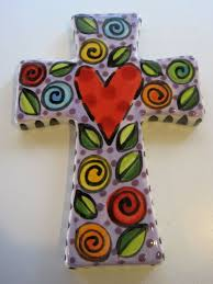 hand painted ceramic cross by shannondesigns on 24 00