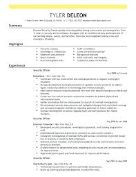 Security Guard Resume Objective Resume Security Guard Eagle Security Officer Sample Resume 79