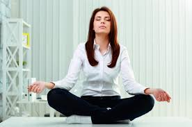 office meditation. Simple Office Women Meditates In Office Meditation At Break Time With Office