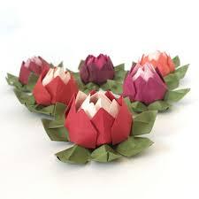 Paper Lotus Flower Set Of 6 Red Shades Origami Lotus Flowers