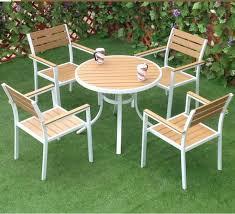 plastic wood top aluminum patio table