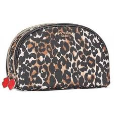victoria s secret leopard double zip makeup cosmetic beauty bag pouch