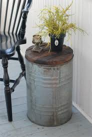End Table Paint Ideas Salvaged Metal Drum Side Table Paint My Plastic Buckets Sliver