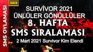 Survivor SMS sıralaması 2 Mart Survivor 2021 Ünlüler Gönüllüler oy  sonuçları exxen - Finans Ajans