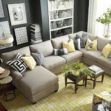 u shaped sectional sofa with chaise and pillow
