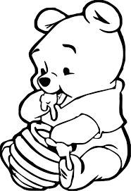 Small Picture Cute Baby Winnie The Pooh Eating Hunny Coloring Page Wecoloringpage