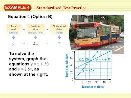 4 equation 2 option b example 4 standardized test practice y x 2 5 to solve the system graph the equations y x 30 and y 2 5x as shown at the