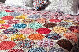 modern patchwork hexagon custom quilt coverlet bed spread anna