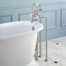 freestanding telephone tub faucet supplies and drain porcelain cross handles