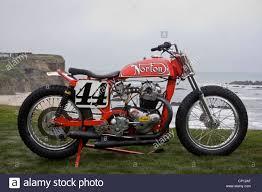 vintage flat track norton race bike built by ron wood stock photo