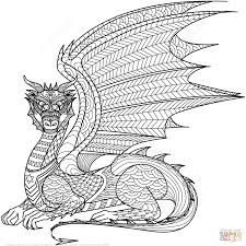 Hard Coloring Pages Of Dragons Dragon For Adults In Wumingme
