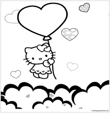 You can also find the best hello kitty accessories. Big Balloon Love Heart Hello Kitty Coloring Pages Cartoons Coloring Pages Free Printable Coloring Pages Online