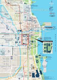 chicago map  street  road names plan with central most popular