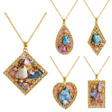 natural stone multicolor crystal heart geometric charm necklace for women unique gift cod