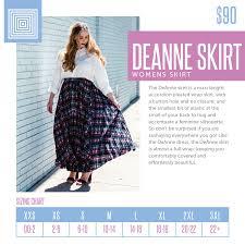 Deanne Skirt Size Chart Sizing Chart For The Lularoe Deanne Skirt This Full Wrap