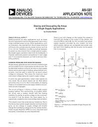Single Supply Op Amp Design An 581 Biasing And Decoupling Op Amps In Single Supply