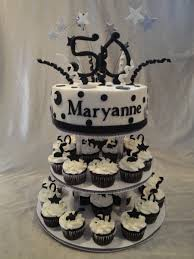 Group Of 50th Birthday Cupcake Tower