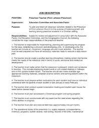 Kindergarten Teacher Resume Job Description Resume Exles For Preschool Teacher Job Description Recentresumes Com 1