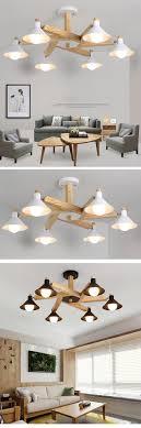 Großhandel Nordic Design Moderne E27 Led Schwarz Weiß Holz Kronleuchter Leuchten Für Loft Esszimmer Bar Wohnzimmer Schlafzimmer Home Lampe Von